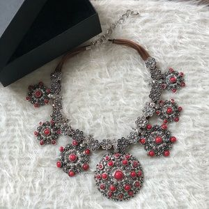 Jewelry - ANTIQUE SILVER AND RED STATEMENT NECKLACE